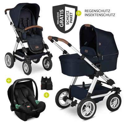 ABC Design Kombi-Kinderwagen »Viper 4 - Shadow«, (9-tlg), 3in1 Kinderwagen-Set mit Lufträdern - inkl. Babyschale Tulip & XXL Zubehörpaket