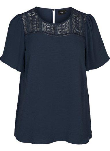 Zizzi Kurzarmbluse Große Größen Damen Kurzarm Bluse mit Spitze
