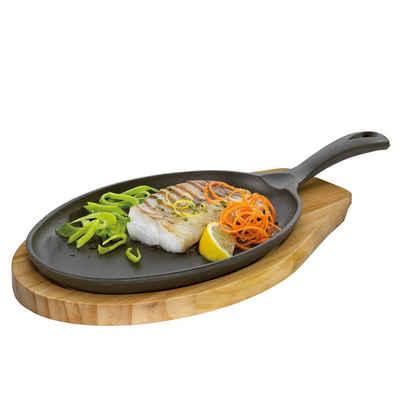 Küchenprofi Pfannen-Set »Servierpfanne Oval mit Holzbrett«, Gusseisen, Holz (2-tlg), Pfanne