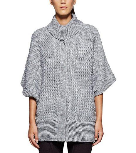 Comma Outdoorjacke »COMMA Cardigan stylische Damen Strick-Jacke mit Knopfleiste Mode-Cardigan Grau«