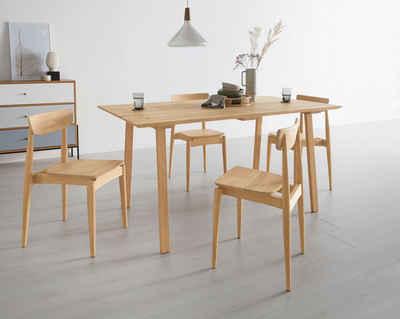 OTTO products Esstisch »Lennard«, aus massiver geölter Wildeiche, mit veganem und zertifizierten Bio-Öl behandelt, rechteckige Tischplatte, mit Schweizer Kante und eckigen Holzbeinen