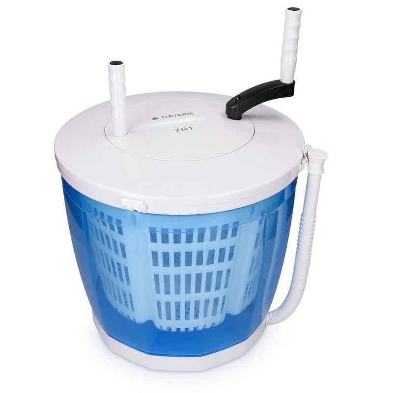 Navaris Wäscheschleuder, 2in1 Mini Waschmaschine und Schleuder - Camping Waschautomat bis 2kg - Tragbare Toplader Reisewaschmaschine mit Schleuderfunktion