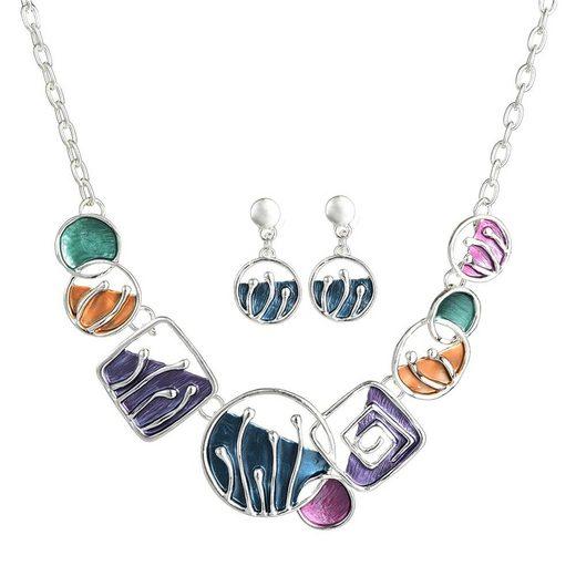 Mein Style Collier-Set »Collier mit Ohrringe Kreise, Quadrate COM038« (1 Stück, 1-tlg., Kette mit Ohrringen), Gesamtlänge verstellbar, antiallergisch