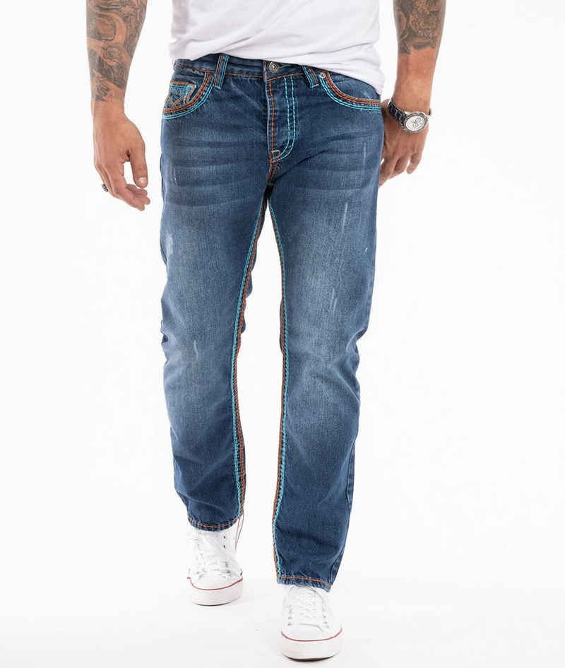 Rock Creek Straight-Jeans »Herren Jeans dicke Nähte RC-2270«