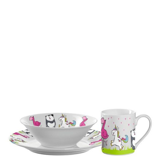 LEONARDO Kindergeschirr-Set »Kindergeschirr 3-teilig Flamingo, Einhorn, Panda« (3-tlg), Porzellan