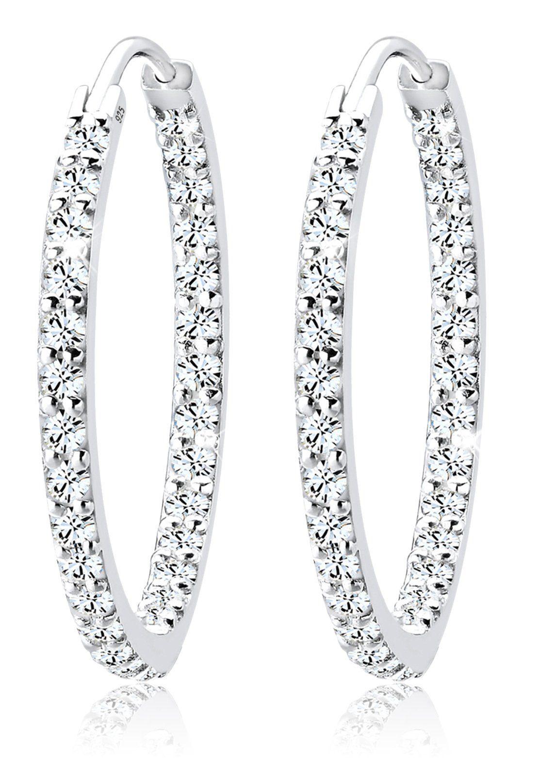 Elli Paar Creolen »Creolen Swarovski® Kristall Funkelnd 925 Silber«