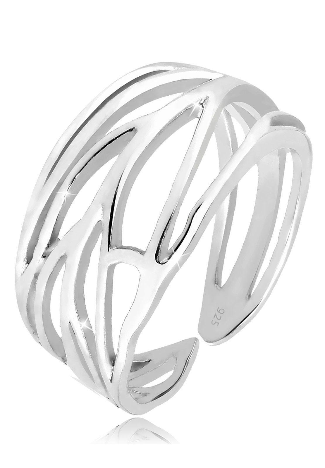 Elli Fingerring »Blatt Ornament Wickelring 925 Silber«