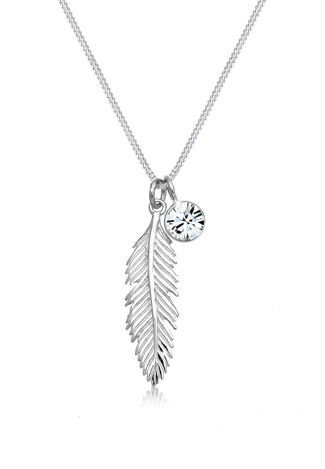 Elli Collierkettchen »mit Swarovski® Kristalle und Feder 925 Silber« online kaufen | OTTO