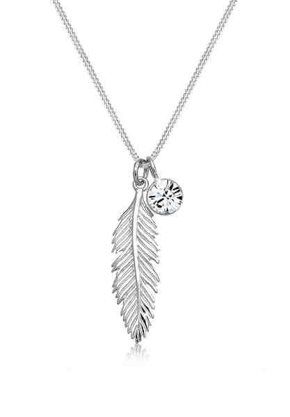 Elli Collierkettchen »Feder Boho Swarovski® Kristalle 925 Silber Pluma«