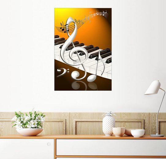Posterlounge Wandbild - Kalle60 »tanzende Noten mit Notenschlüssel und Klavier...«