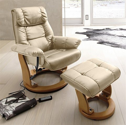 Massagesessel, Alpha Techno, inklusive Hocker | Wohnzimmer > Sessel > Massagesessel | Microfaser - Kunstleder | Alpha Techno