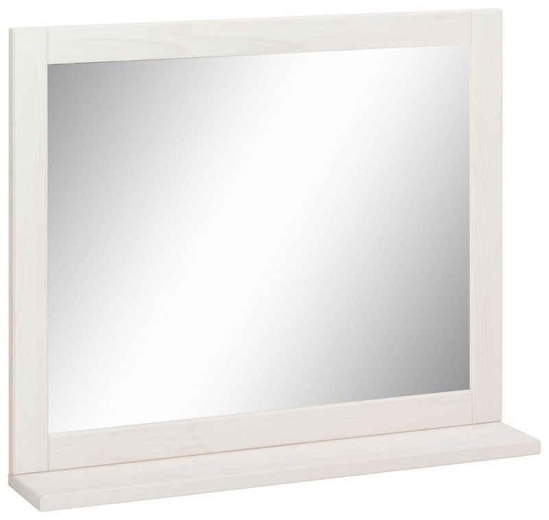 Home affaire Wandspiegel »Westa«, Breite 60 cm, Badezimmerspiegel mit Rahmen, Massivholz, Kiefernholz, 1 Ablage