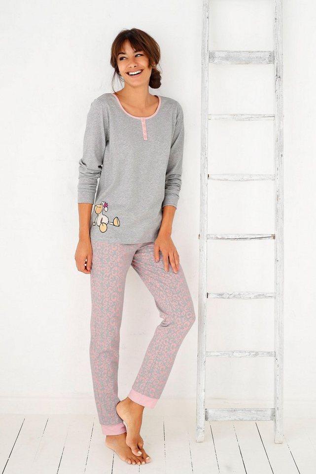 a6fb9b3e2c1360 NICI Pyjama mit Sheep Print, Oberteil mit langen Ärmeln und Henley ...