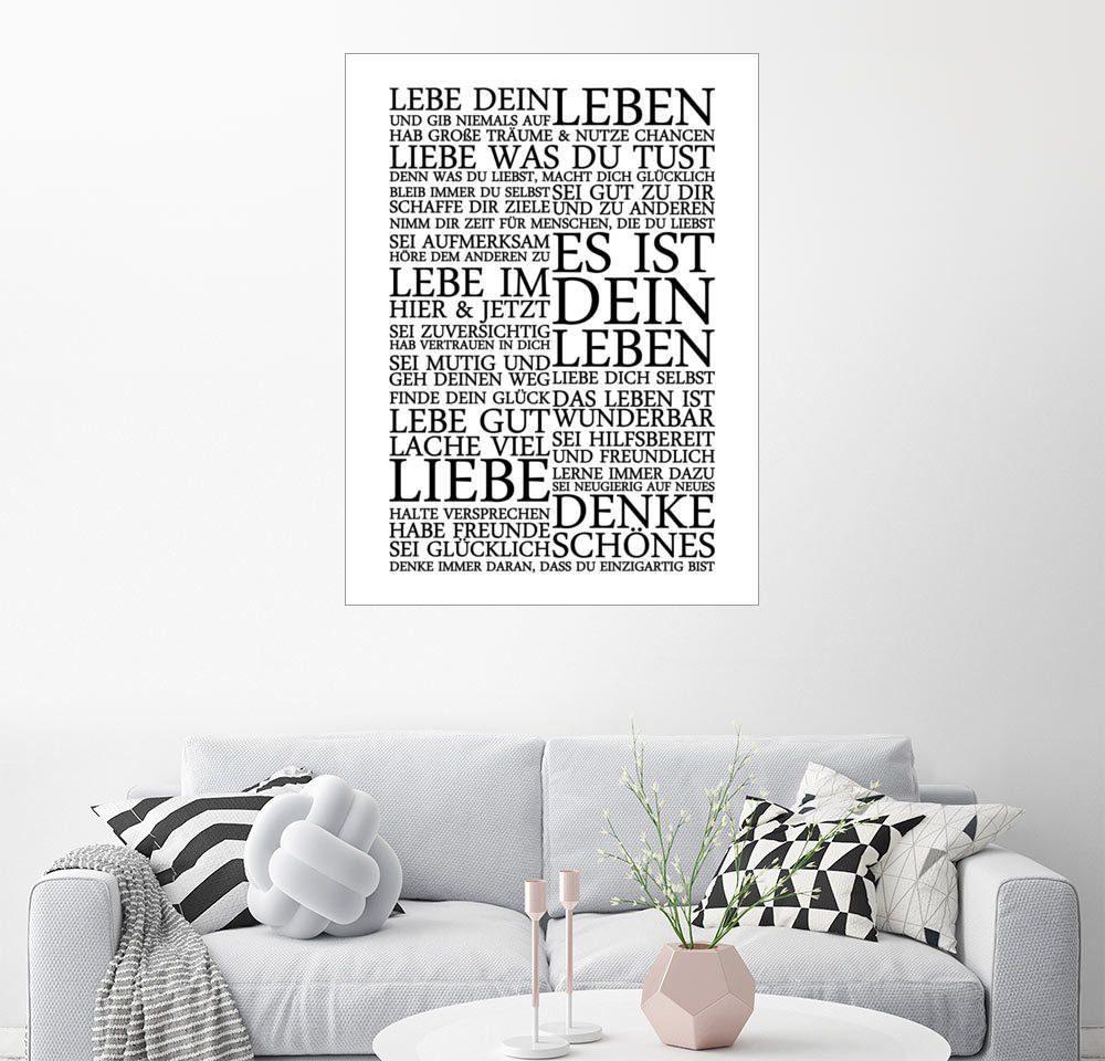 Posterlounge Wandbild - Zeit-Raum-Kunstdrucke »LEBE DEIN LEBEN MANIFEST ZEIT RAUM KUNSTDRUCKE«