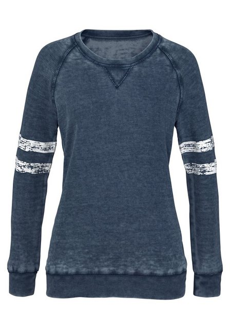 Damen Bench. Sweatshirt mit coolen washed-out Effekten blau | 04260406769949