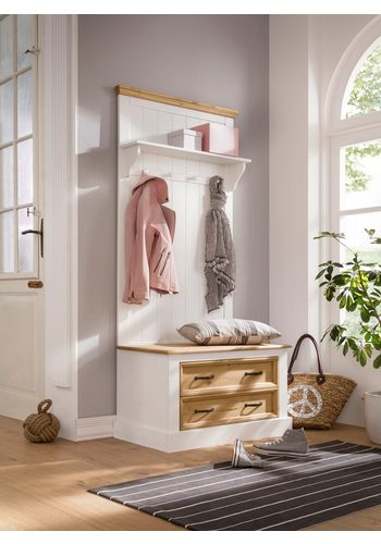 Home affaire Kompaktgarderobe Selma, mit Hutablage, mehreren Haken aus Holz und zwei Schubladen , Breite 80 cm weiß  