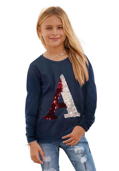 Arizona Langarmshirt mit Wendepailletten Appliquation