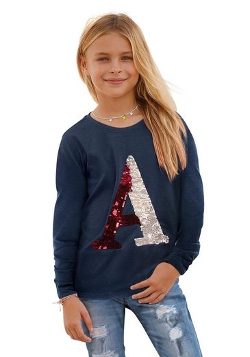 Arizona Langarmshirt mit Wendepailletten Appliquation
