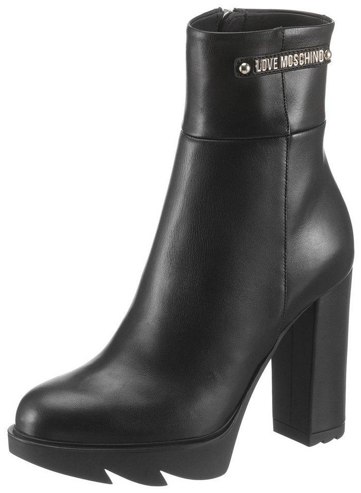 LOVE MOSCHINO High-Heel-Stiefelette im schlichten Design   Schuhe > High Heels > High Heel Stiefeletten   Schwarz   LOVE MOSCHINO