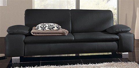 Sit&More 3-Sitzer mit Armlehnkissen in schwarz
