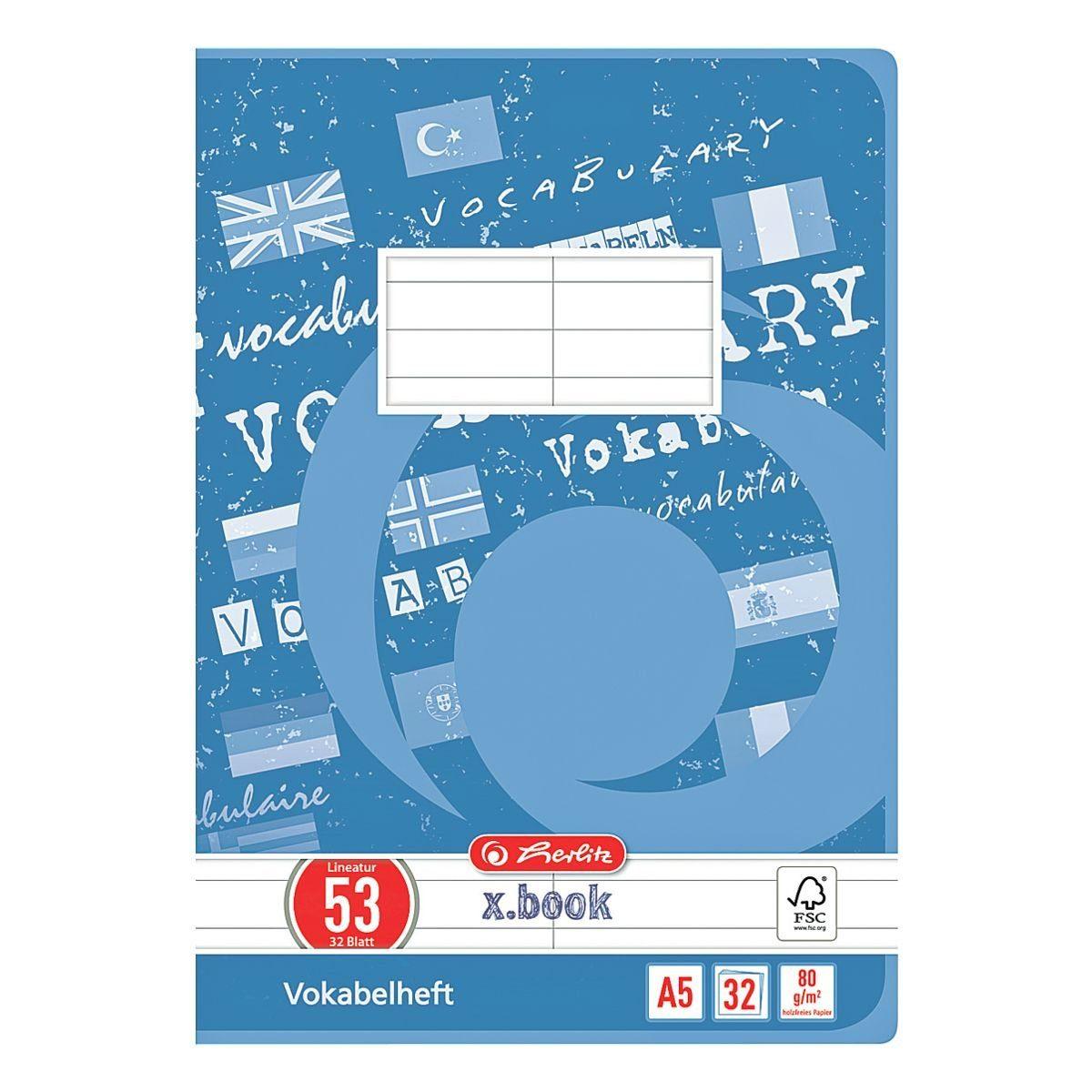 Vokabelheft A5 liniert (Lineatur 53) »x.book 415588«