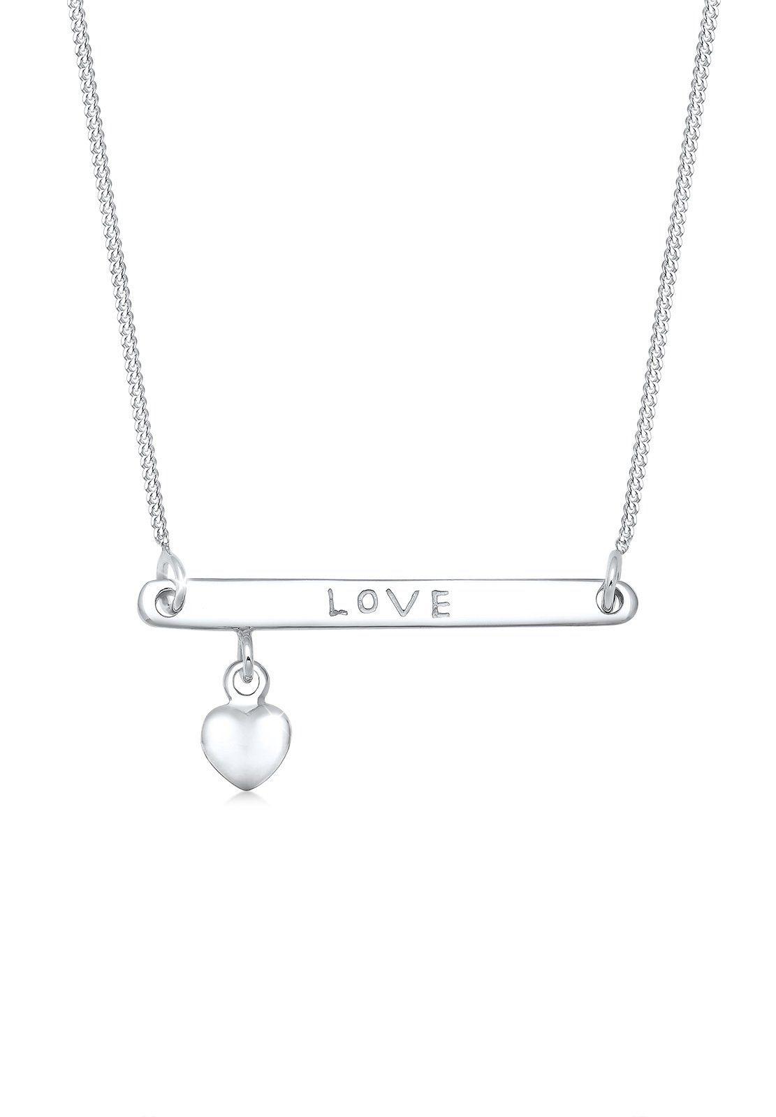Elli Collierkettchen »Herz Liebe Schriftzug 925 Sterling Silber«