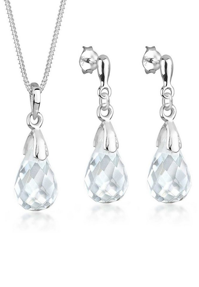 Elli Schmuckset »Set  Tropfen Bergkristall 925 Sterling Silber« (Set, 2 tlg 4dc10b8c0c