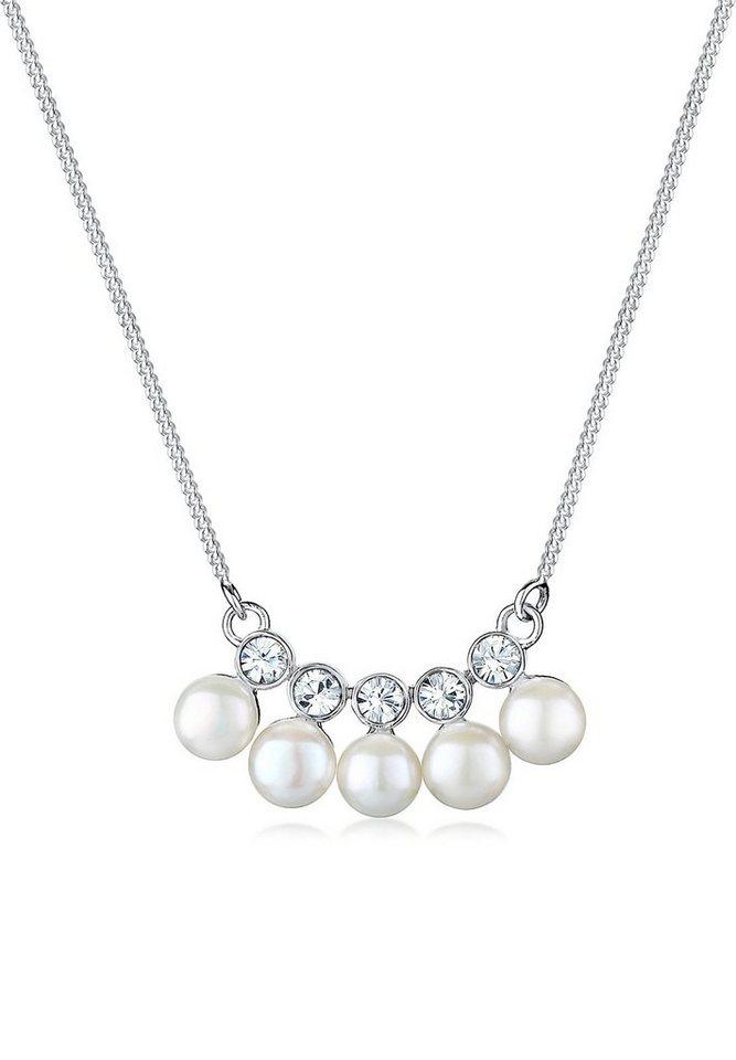Elli Perlenkette »Süßwasserzuchtperle Swarovski® Kristall 925 Silber« | Schmuck > Halsketten > Perlenketten | Elli