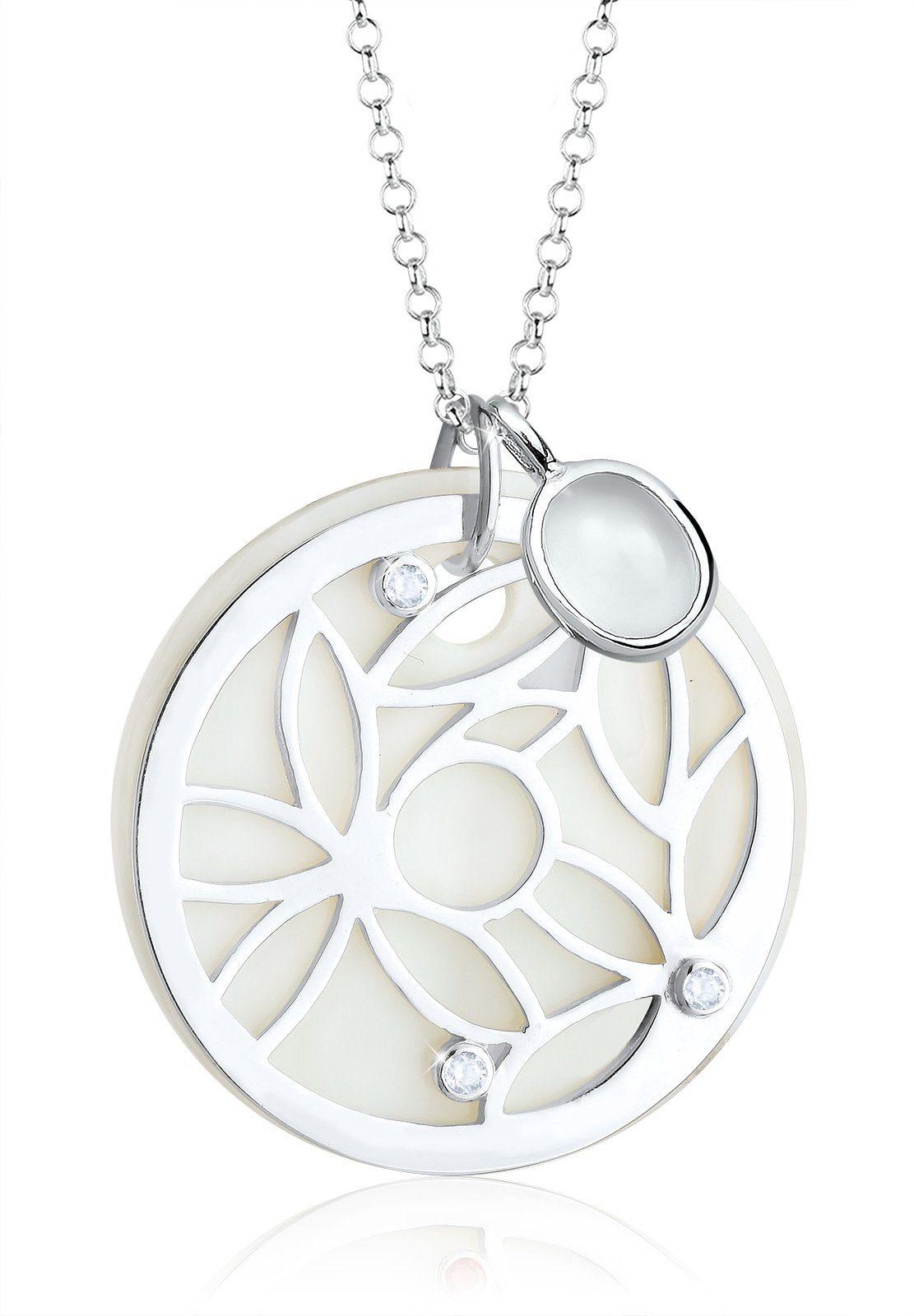 Elli Kette mit Anhänger »Ornament Perlmutt Edelsteine 925 Sterling Silber«
