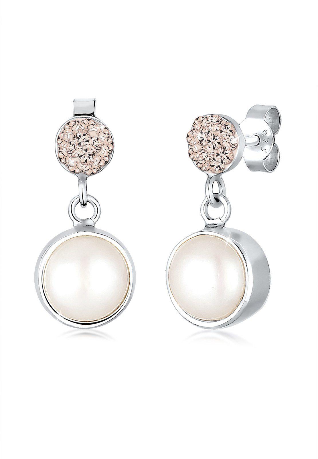Elli Perlenohrringe »Süßwasserperle Swarovski Kristalle 925 Silber«