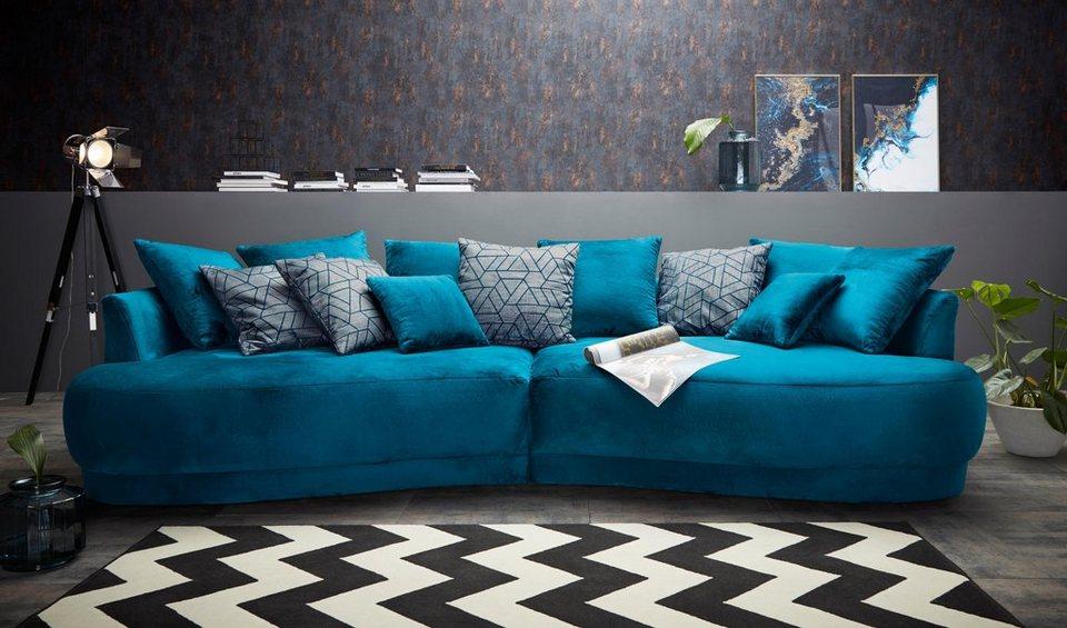 Inosign Big Sofa Vany In Gerundeter Optik Mit Vielen Losen Kissen