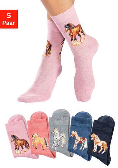 H.I.S Socken (5-Paar) Mit unterschiedlichen Pferdemotiven