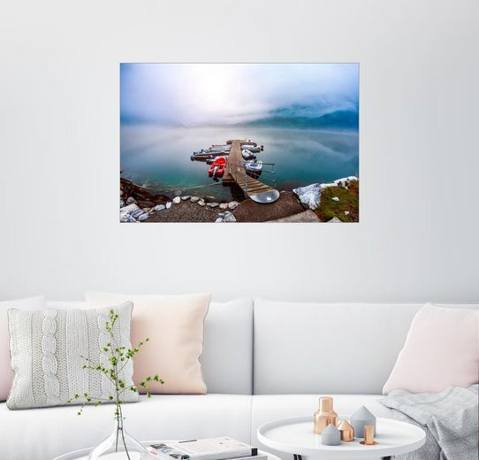 Posterlounge Wandbild »Steg in den Fjord«