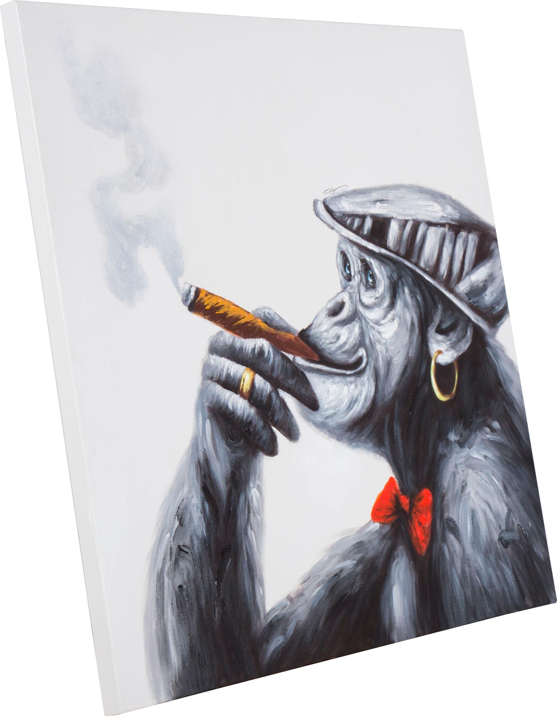 Ölgemälde »Rauchender Affe«, 100/100 cm, handgemalt