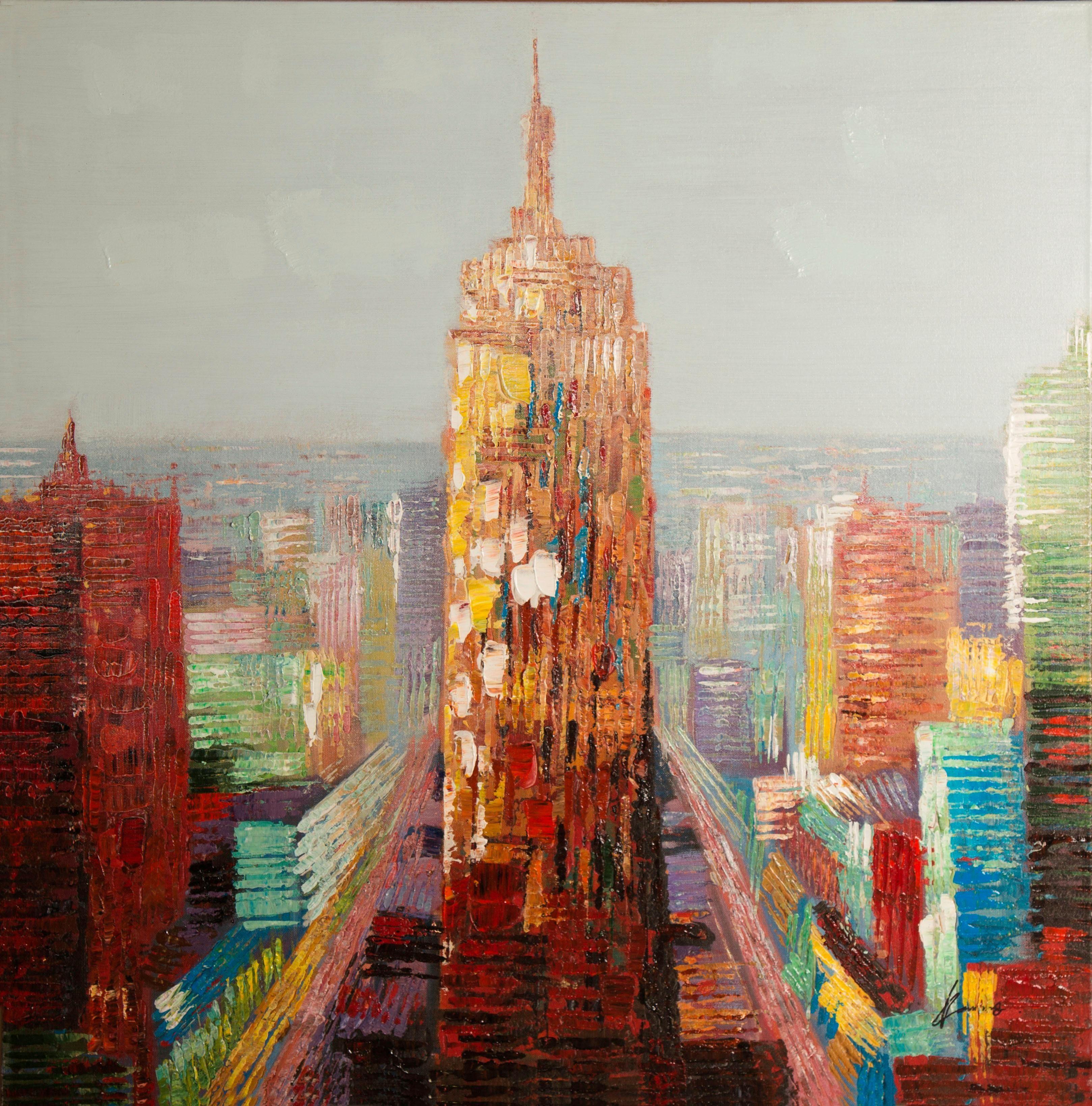 Ölgemälde »Turm in einer Stadt«, 100/100 cm, handgemalt