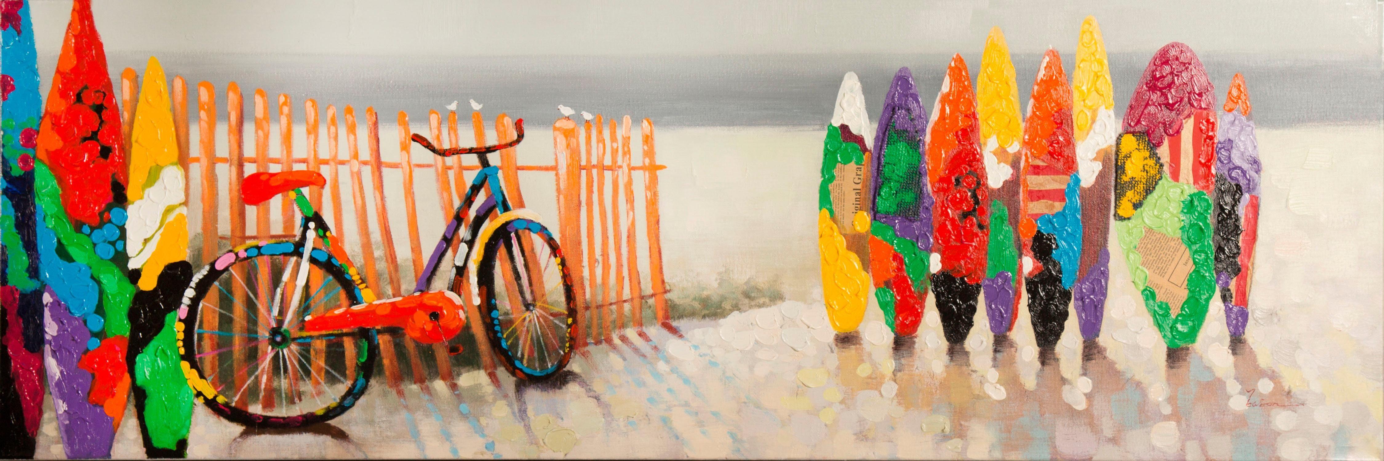 Ölgemälde »Bunte Surfbretter«, 150/50 cm, handgemalt