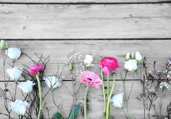 Home affaire Deco-Panel »Einzelne Blumen auf Holz«, 98/68 cm