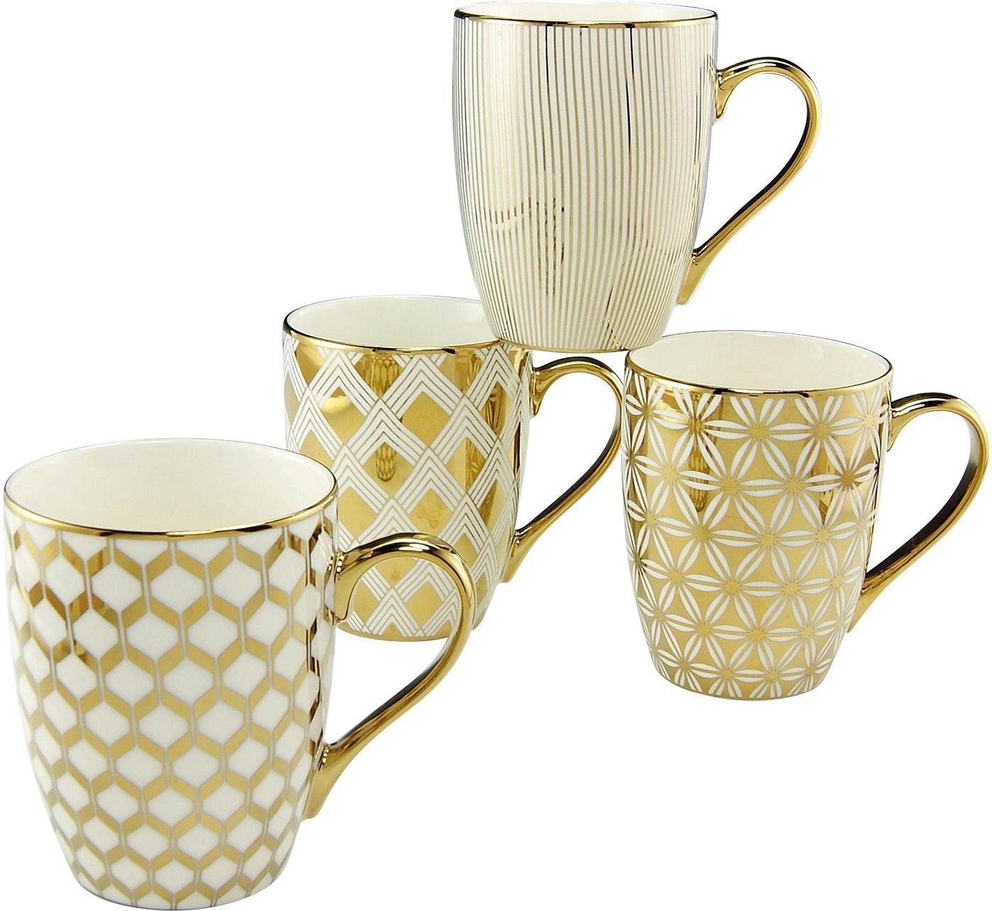 CreaTable Kaffeebecher, Porzellan, 4 Teile , »Gold«
