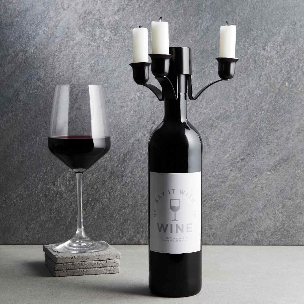 BUTLERS RENDEVOUZ »Kerzenhalter für Weinflasche«