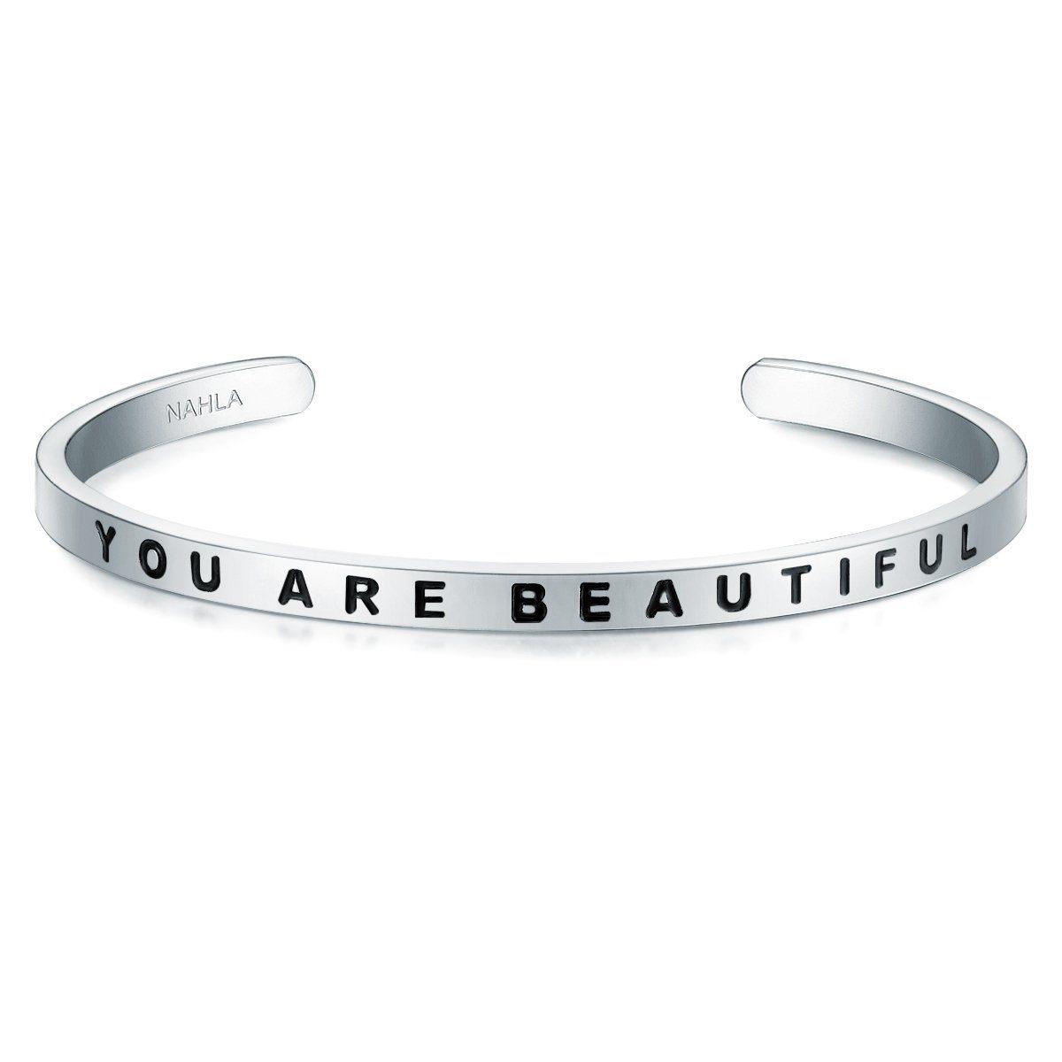 Nahla Jewels Armreif »X261« mit Slogan YOU ARE BEAUTIFUL