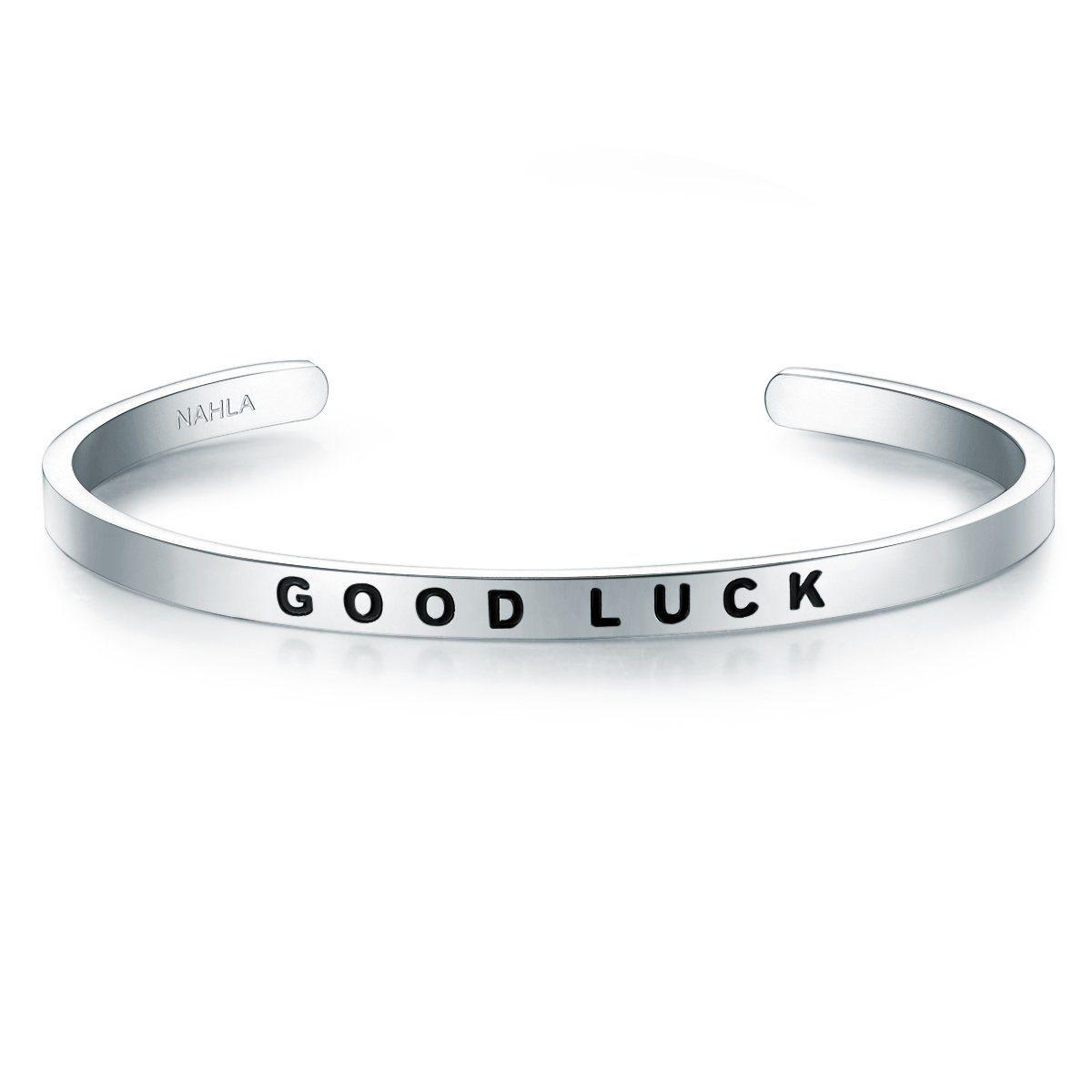 Nahla Jewels Armreif »X345« mit Slogan GOOD LUCK
