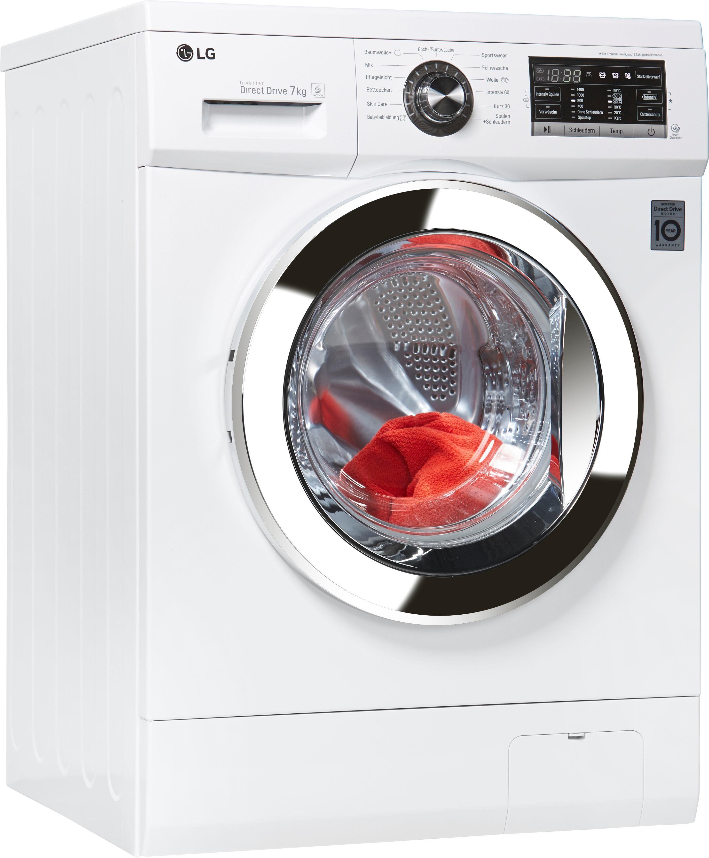 LG Waschmaschine F1496QD3H, 7 kg, 1400 U/Min, unterbaufähig