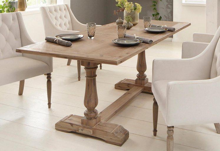 Home affaire Esstisch »Juliane«, aus massivem Akazienholz, mit außergewöhnlichem Fußgestell, in geschwungener und schöner Form