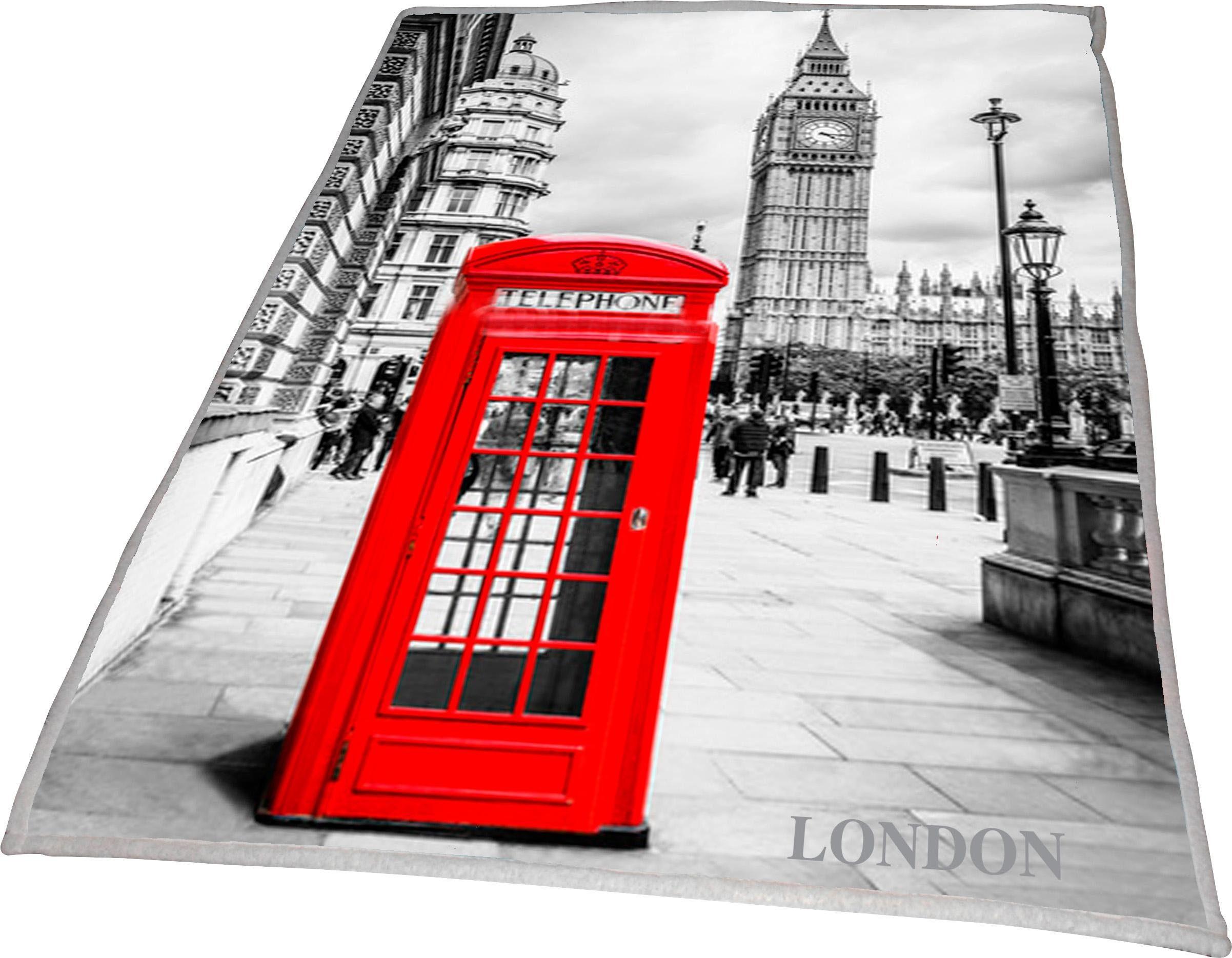 Wohndecke »London Big Ben«, Goldmond, mit aufgedrucktem Motiv