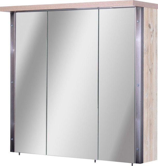 Spiegel - Schildmeyer Spiegelschrank »Harkon« Breite 76 cm, 3 türig, eingelassene LED Beleuchtung, Schalter Steckdosenbox, Glaseinlegeböden, Made in Germany  - Onlineshop OTTO