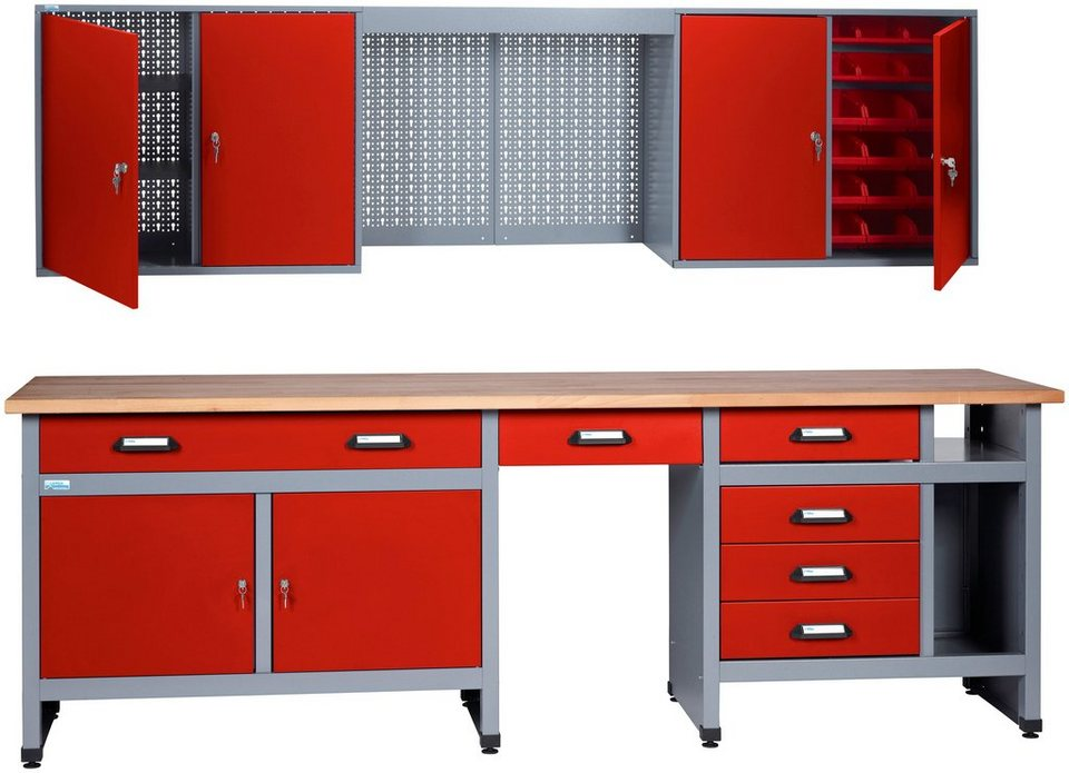 k pper werkbank set 240 cm rot in verschiedenen h hen online kaufen otto. Black Bedroom Furniture Sets. Home Design Ideas