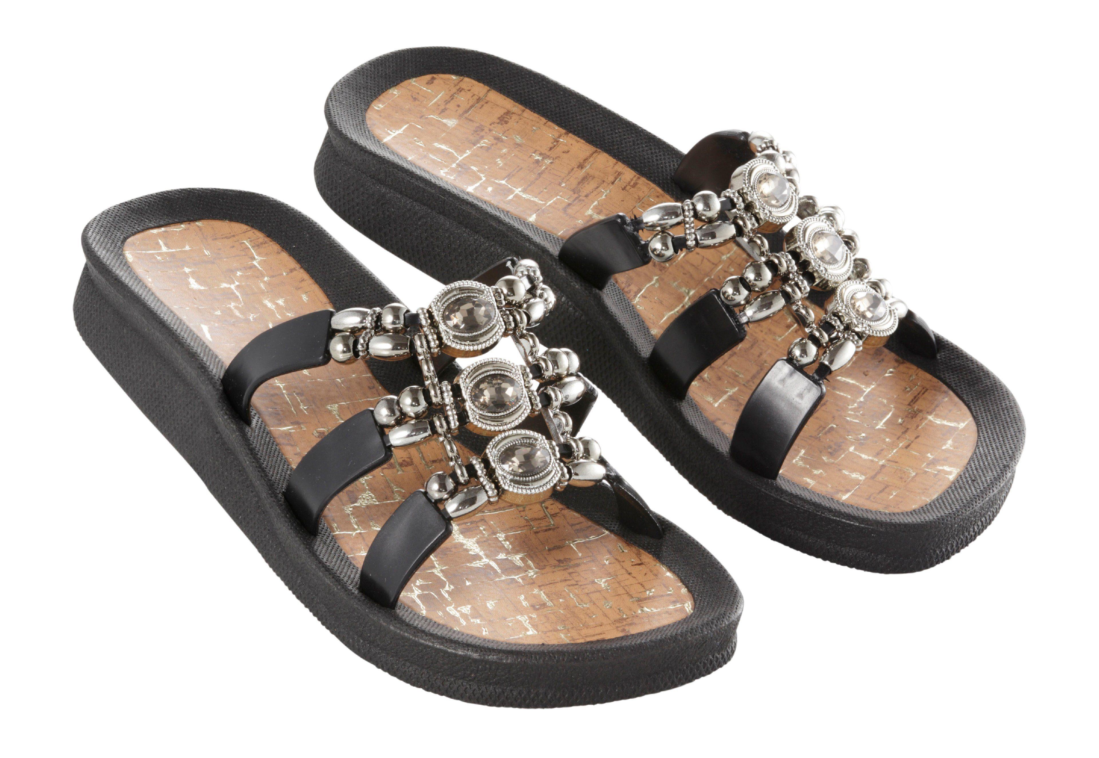 Linea Scarpa Bade-Pantolette mit Schmuck-Steinen und -Perlen online kaufen  schwarz