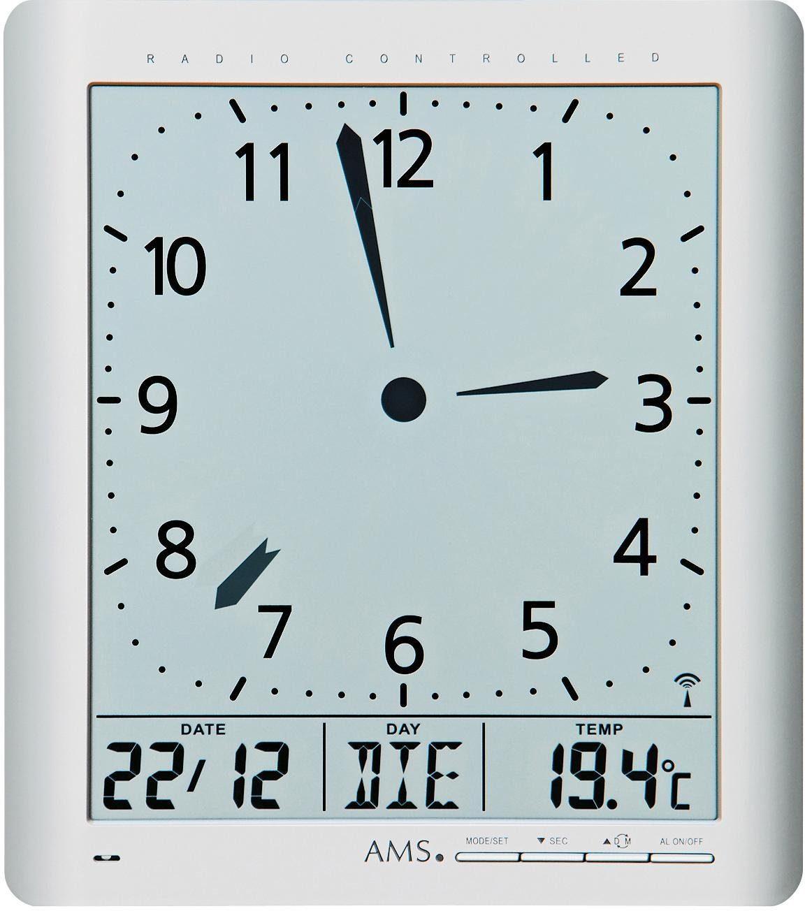 AMS Funkwanduhr »F5898« (mit Alarm)