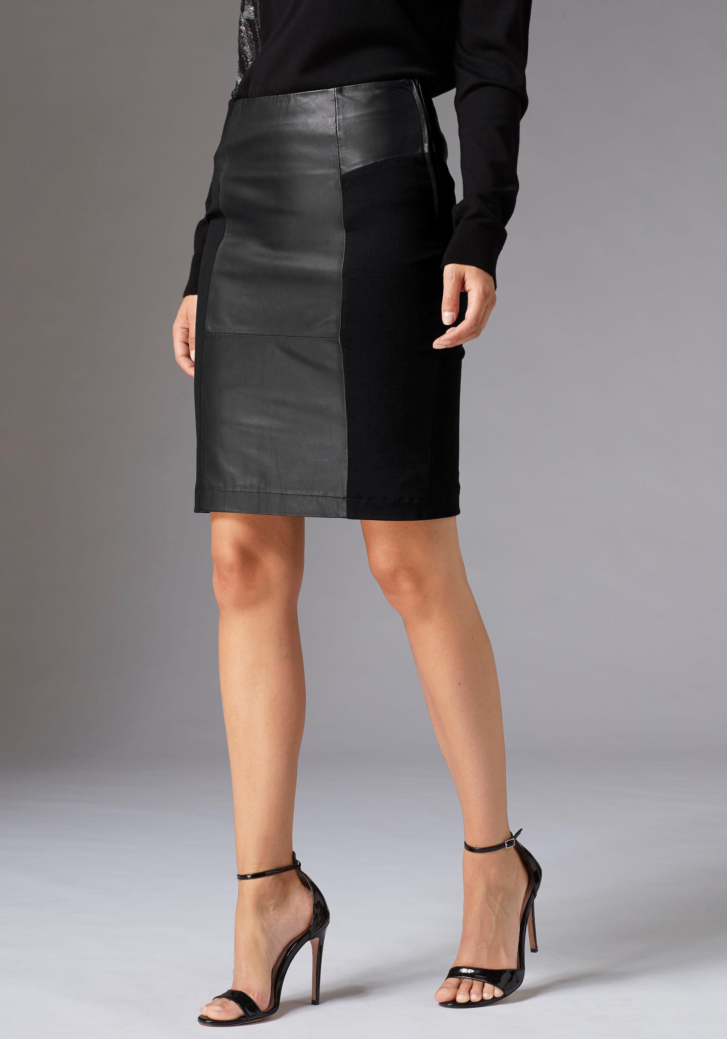 guido maria kretschmer -  Lederrock mit Leder- und Stoffeinsätzen