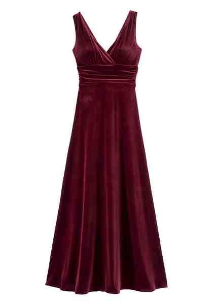 GMK Curvy Collection Abendkleid, mit tief überschnittenen V-Ausschnitt